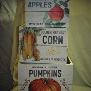 Apples, Pumpkin, and Corn wooden bushels